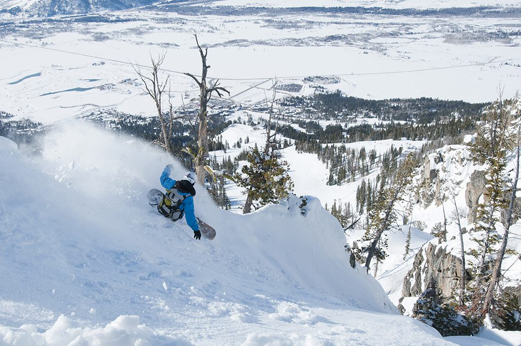 Man Snowboarding in Jackson Hole