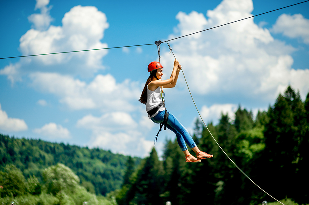Woman Ziplining in Jackson Hole