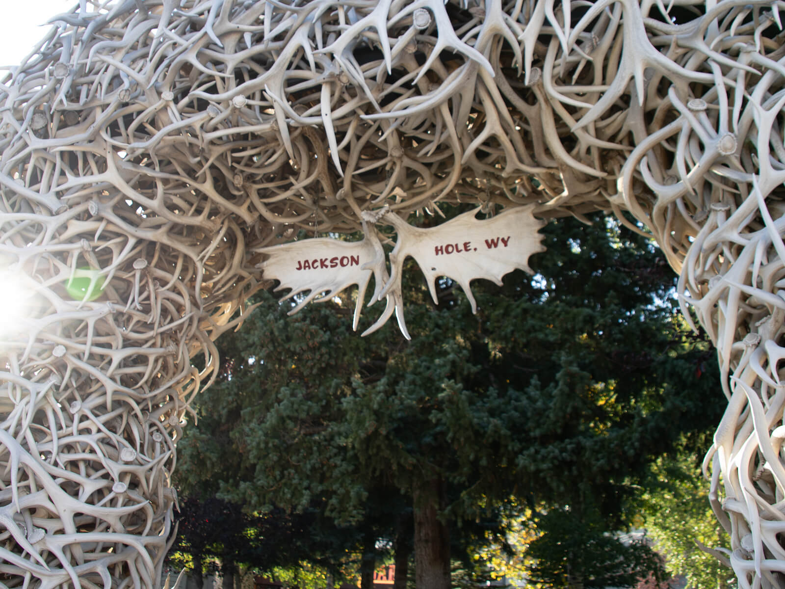 Iconic elk antler arches that frame Jackson's town square