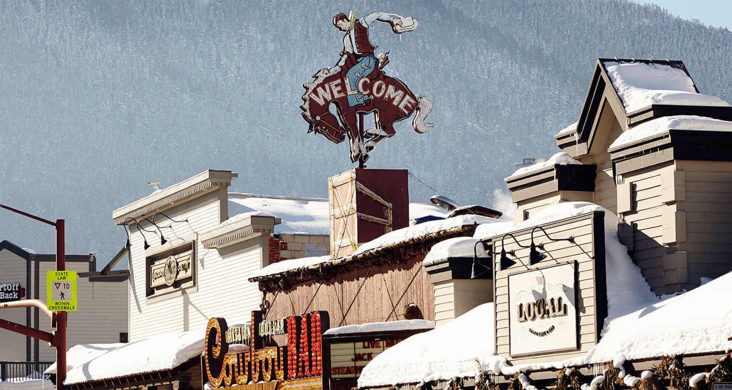 Jackson Wyoming downtown with snow covered roofs
