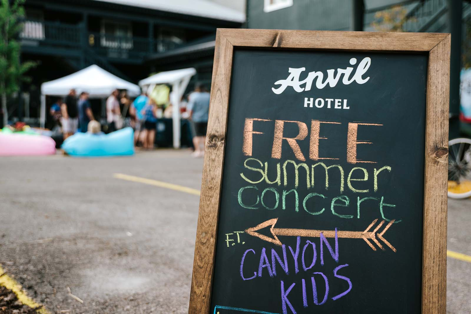 Free summer concert series sign at Anvil Hotel