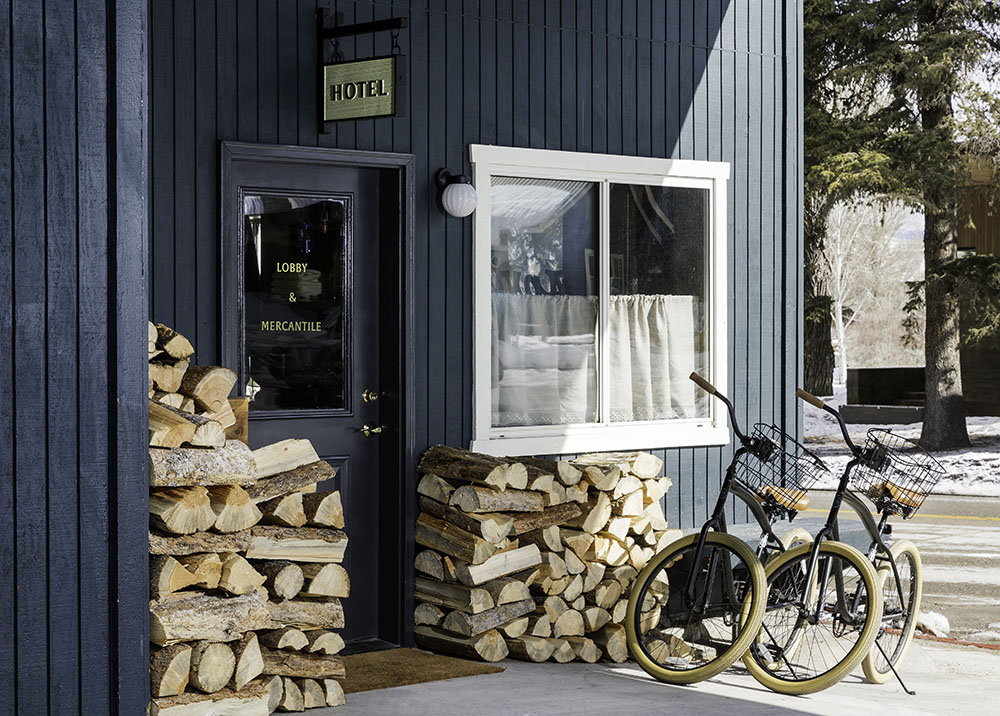 Anvil Hotel Front Entrance with Bikes parked